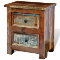 Reclaimed Solid Wood Bedside Cabinet Nightstand With 2 Drawers Vintage Rustic