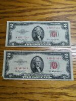 1953 $2.00 United States Notes with Red Seal ( lot of 2) * Free Shipping*