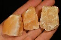 3 ORANGE CALCITE SPECIMENS 4cm 81g Healing Crystals Natural Rough, Energy