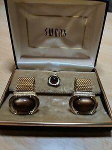 Vintage SWANK Brown Moonstone Mesh Wrap Cufflinks with Matching Tietack