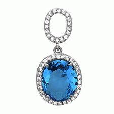 Blue Topaz Pendant Necklace .925 Sterling Silver CZ Pendant