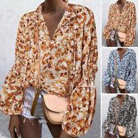 UK Womens Blouse Full Sleeve Floral Top Shirt V-Neck Evening Basic Plus Size