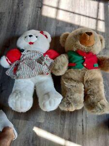 Lot of 2 Vintage Teddy Bears Stuffed Animal Toy Plush Holiday. Large!