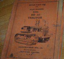 Allis Chalmers Hd10 Tractor Dozer Crawler Parts Manual Book Catalog Spare List