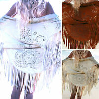 Womens Tassel Shawl Poncho Fringe Long Cardigan Boho Beac Bikini Cover Wrap Tops
