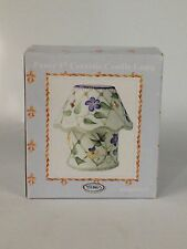 "Pansy 4"" Ceramic Candle Lamp Purple Yellow Pansies New"