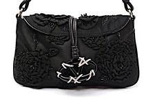 "Auth Valentino Garavani Beaded Jeweled Silk Flowers Evening Bag Baguette 11 x 7"""