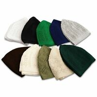 Ultra-Thin Cotton Crochet Skull Cap Kufis in Solid Colors