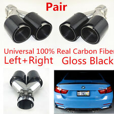 2x Real Carbon Fiber Car SUV Dual Exhaust Pipe Muffler End Tips 63mm-89mm Glossy