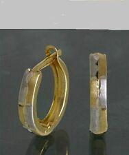 Echt 333 Gold Klappcreolen Kreolen Ohrringe Bicolor kleine schmale Herren Damen