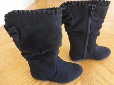 Girls Black Boots NEW size 9 Relay zip-up Faux Suede retail $44.99 Slouch NWT