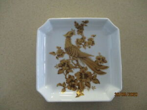 Vintage A K Kaiser 14cm Square Dish Gold Kantate Bird by Nossek