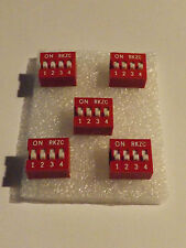 4 Way DIP Switch - Red - Slide Type 4x2 Position - 8 Pin - 5 Pack - Free P&P