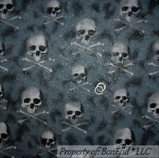 BonEful Fabric FQ Cotton Quilt Black Gray Silver Glitter PIRATE Skull Cross Bone