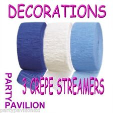 3 Crepe Streamers Baby Royal Blue White Boys Christening / Communion Decorations
