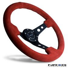 "NRG Steering Wheel 3"" Deep Dish Red Suede with Black Stitch / Stiching 350mm"