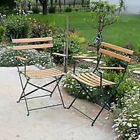 Outdoor Patio Arm Chairs w/ Enamel Coated Steel & Wood