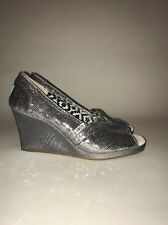 Toms Silver Sequin Peep Toe Wedge Shoes Size 9