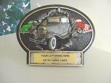 THREE DIMENSIONAL ANTIQUE CAR TROPHY CAR SHOW RESIN AWARD FREE LETTERING