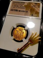 "BYZANTINE GOLD ""BASIL I & CONSTANTINE"" 868-886 AD SOLIDUS CHRIST NGC MS 5x4!"