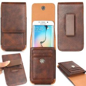 Deluxe Leather Mobile Phone Vertical Belt Clip Holster Sleeve Holder Case Cover