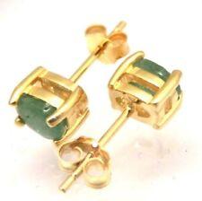 Ovale Smaragd Ohrschmuck im Ohrstecker-Stil mit echten Edelsteinen