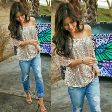 Hot Women Sequin Bling Shiny Tank Top Casual Loose Shirt Off Shoulder Blouse