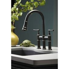 Elkay Explore LKEC2037AS Antique Steel Double Lever Pull Down Kitchen Faucet