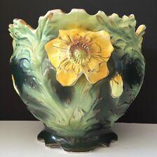 """ANTIQUE ROYAL DUX 1874 LARGE ART NOUVEAU JARDINAIRE W/ YELLOW FLOWERS 10"""" x 9"""""""