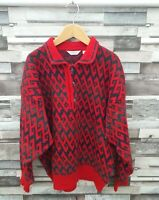 SINGOLO ITALIAN VTG RETRO CHUNKY KNIT ABSTRACT BRIGHT RED WOOLLEN COSBY JUMPER L
