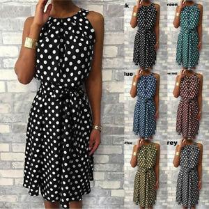 Womens Summer Polka Dot Dress Ladies Holiday Sleeveless Mini Sundress Plus Size