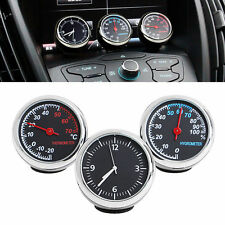 3 PCS Car Thermometer Hygrometer Quartz Clock For Dashboard Ornaments