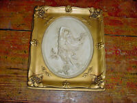 ALEXANDER BACKER CHALKWARE NUDE PICTURE ART NOUVEAU MID CENTURY 131/2 by 11 1/2""