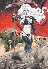 "LADY DEATH 11X17"" SEXY INK COLOR PINUP ART  ORIGINAL COMIC PAGE BY LANIO SENA"