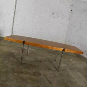 Modern Walnut & Chrome Boat Shape Dining Conference Table by Jens Risom for Howe
