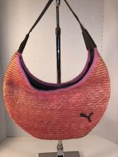 Puma Pink Straw Hobo Bag black style# ACNJJ