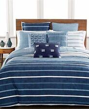 NEW Hotel Collection Modern Colonnade Blue Stripe KING Duvet Cover MSRP $385!