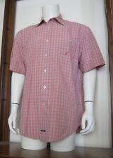 L Men Nautica Sanded Poplin Short Sleeve Button Shirt Red White Plaid Cotton EUC