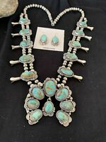 ROYSTON TURQUOISE Sterling Squash Blossom Necklace NAJA Pendant Navajo Pearl
