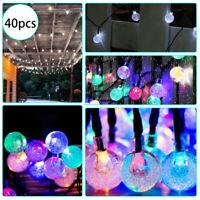 40LED Solar Powered Retro Bulb String Light For Garden Outdoor Fairy Summer Lamp