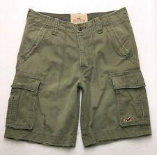 T150 Hollister by Abercrombie Military Style Green Cargo Shorts sz 31 (34x10.5)