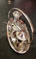 FINE VINTAGE OLD HALL STAINLESS STEEL CONDIMENT SET TRAY SALT PEPPER POT & SPOON