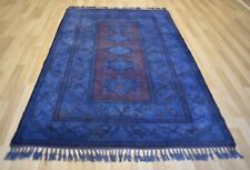 Vintage Over-Dyed  Purple/Blue  Handmade Melas Rug  6 Ft x 8 Ft  Free Shipping