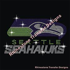 "Rhinestone Transfer ""Seattle Seahawks "" Hotfix , Iron On, Bling, Motif"