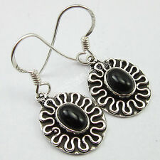 Solid Silver Black Onyx Gift Item Oval Cabochon Gemstone Earrings 3.1 Cm, 925