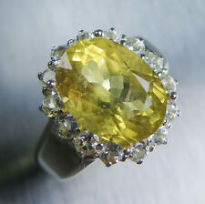 4.75cts Natural Heliodor Beryl golden yellow & topaz 925 sterling Silver ring