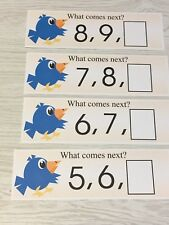 Blue Bird - Numbers - What comes next ? - 21 Laminated cards Activity Set