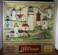 Heritage Cape Cod and Islands Lighthouses Puzzle 550 Piece Artist Donna Elias