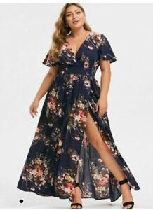 Ladies Rosegal Plus Size 28 Navy blue Floral Maxi Dress