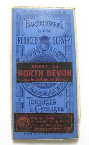Bartholomew's New Reduced Survey Map of North Devon - Vintage Cloth Map